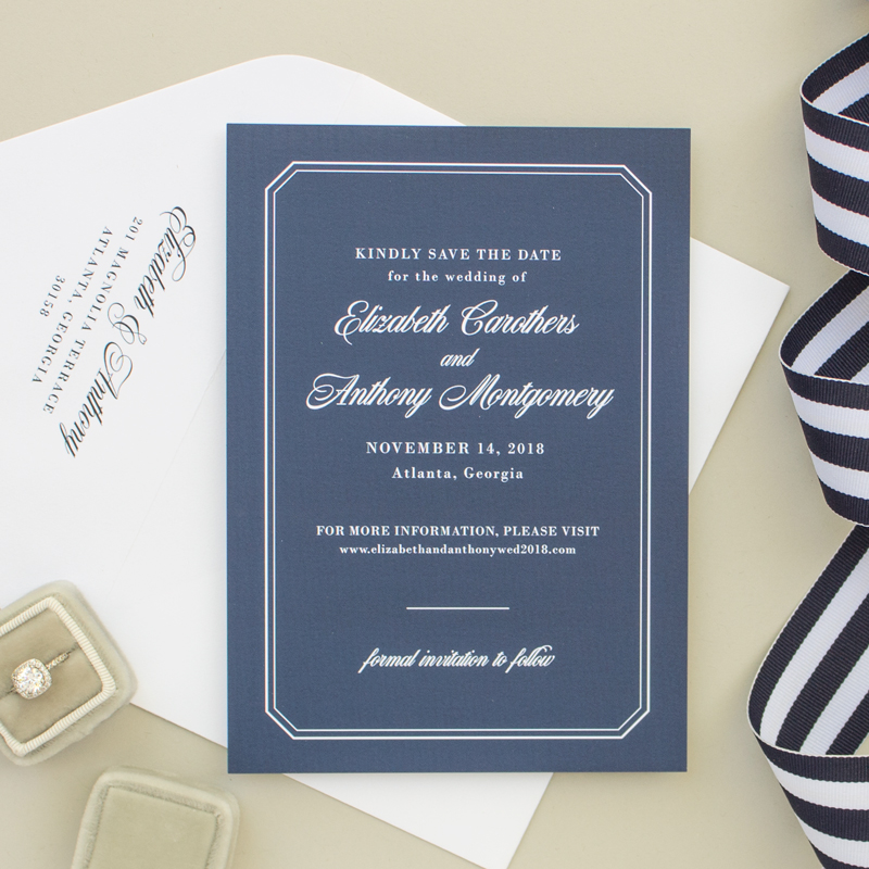 nautical save the date in navy blue