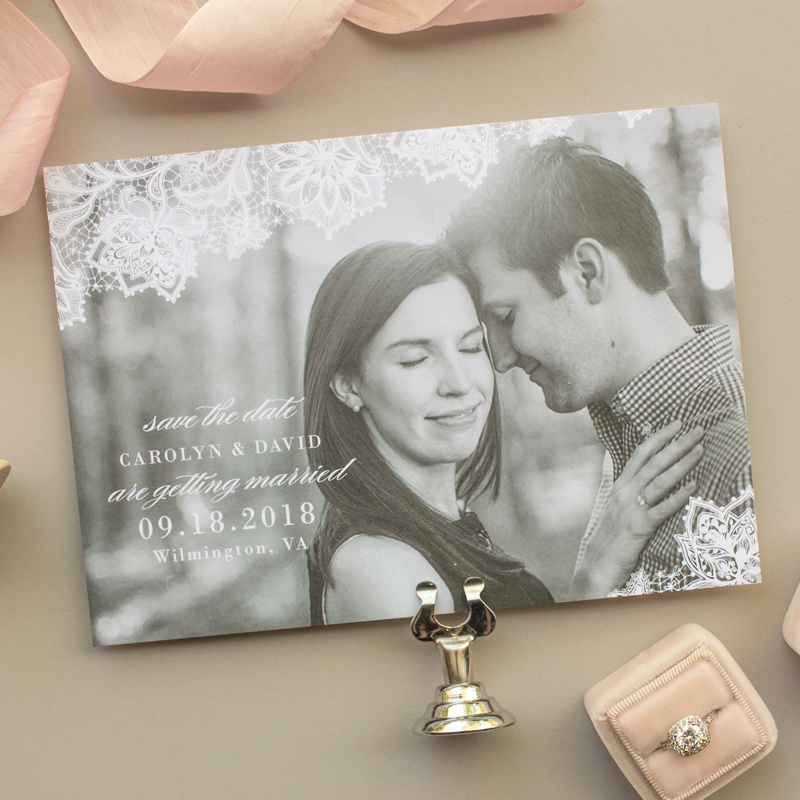 elegant lace save the dates