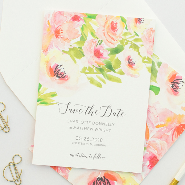 tropical watercolor flowers announcement