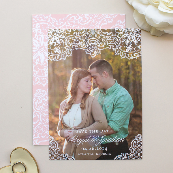 vintage lace save the dates