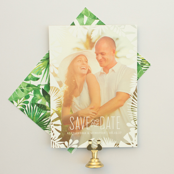 palm frond save the date cards