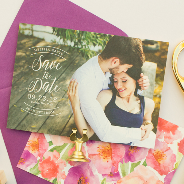 photo save the date with watercolor flowers