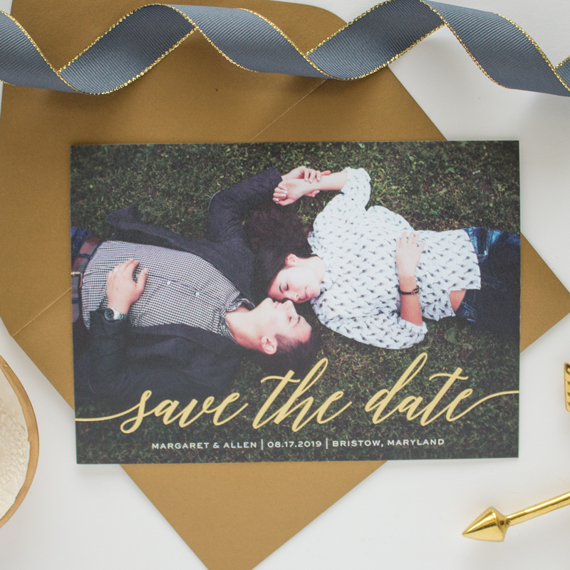 gold foil script save the date
