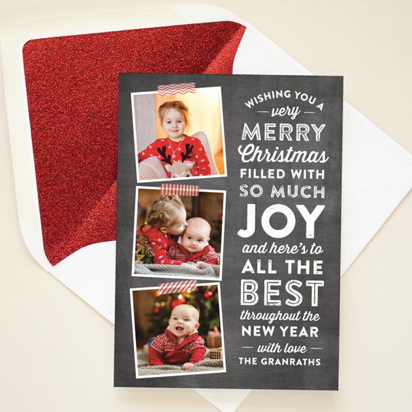 chalkboard lettering christmas card