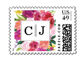 floral wedding postage