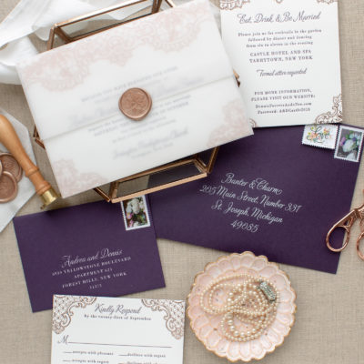 custom wax seal invitations for New York wedding
