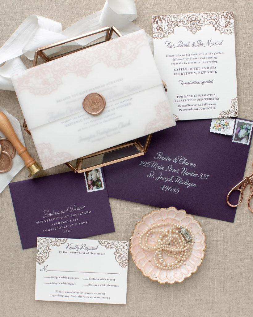 custom wax seal invitations for New York wedding