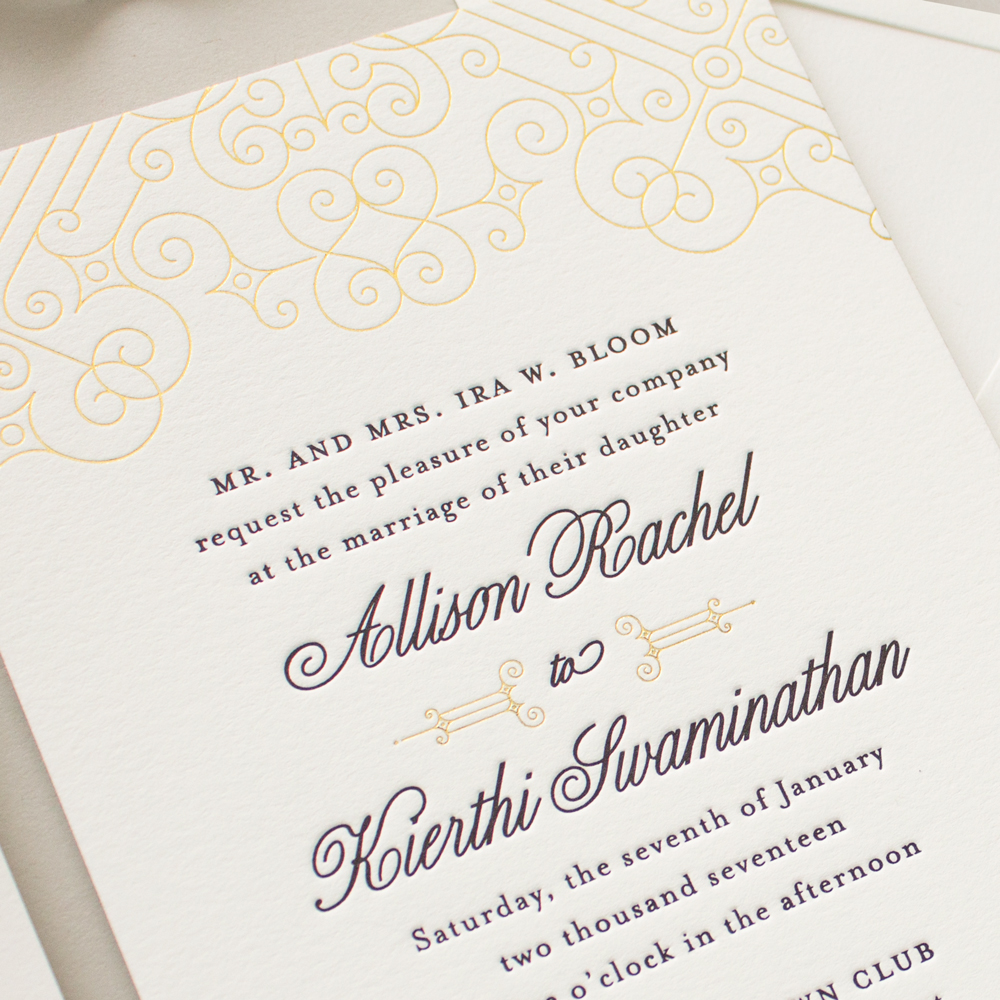 art deco wedding invitations in gold foil