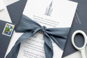 Letterpress Wedding Invitations with Custom Venue   Notre Dame Basilica