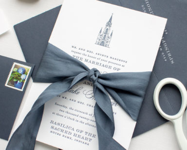 Letterpress Wedding Invitations with Custom Venue | Notre Dame Basilica