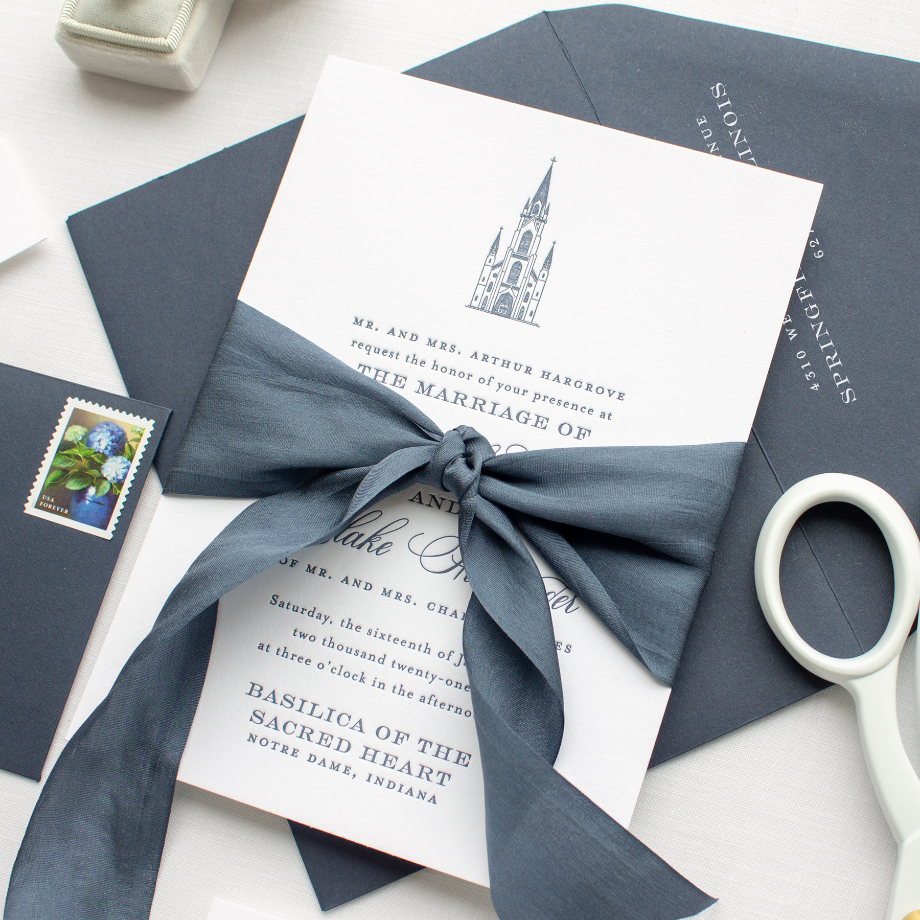 custom invitations for basilica wedding at notre dame