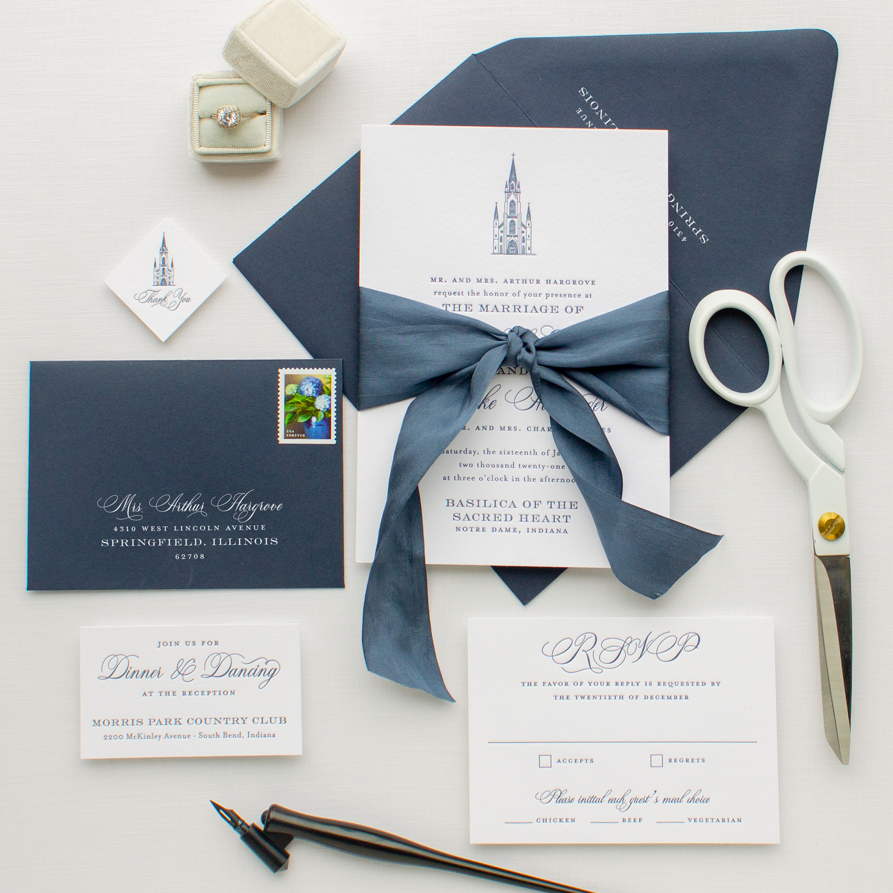 custom letterpress invitations with venue sketch