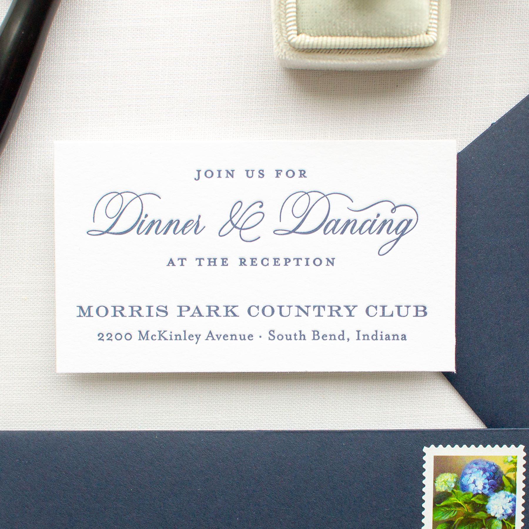 wedding reception card for notre dame wedding
