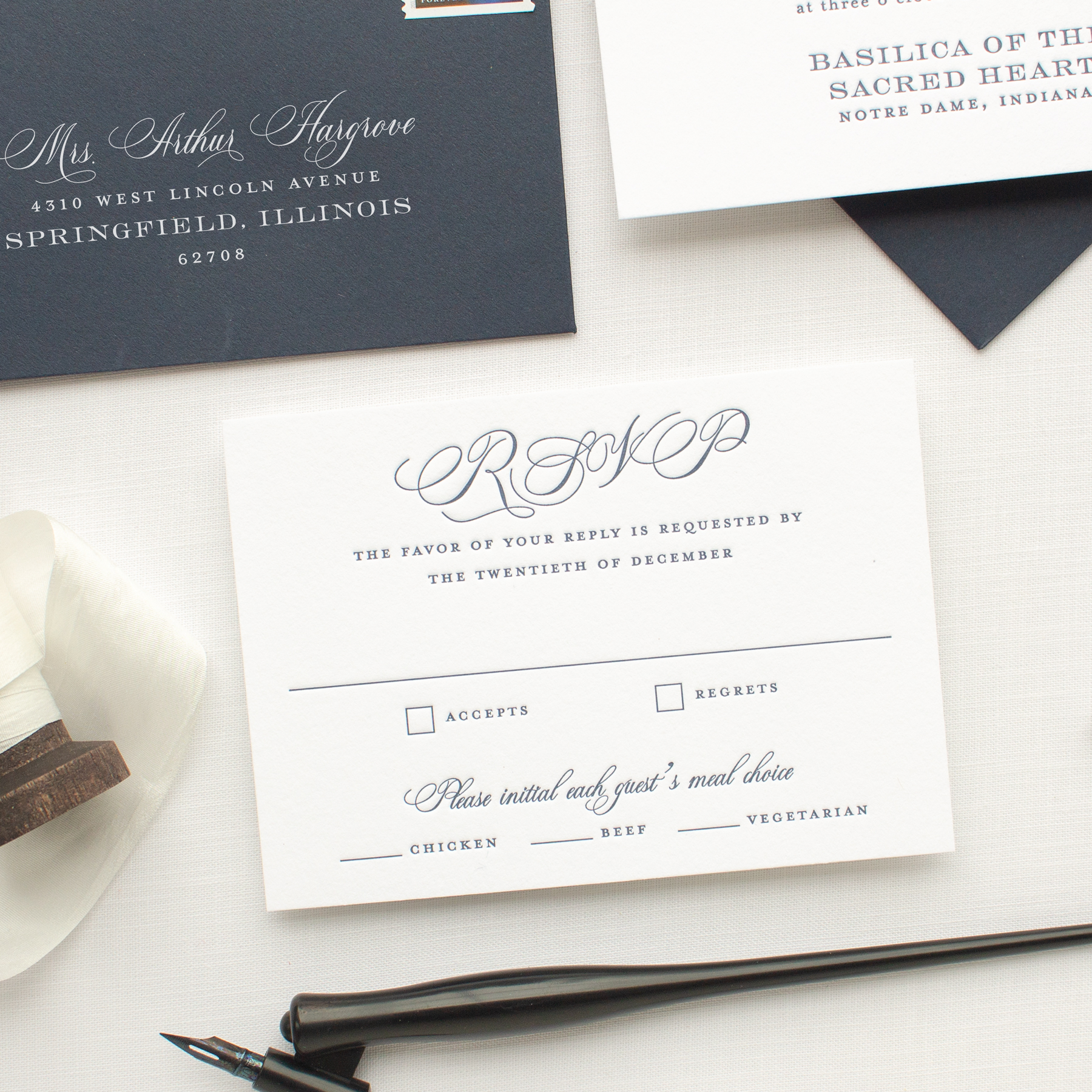 navy letterpress wedding rsvp card