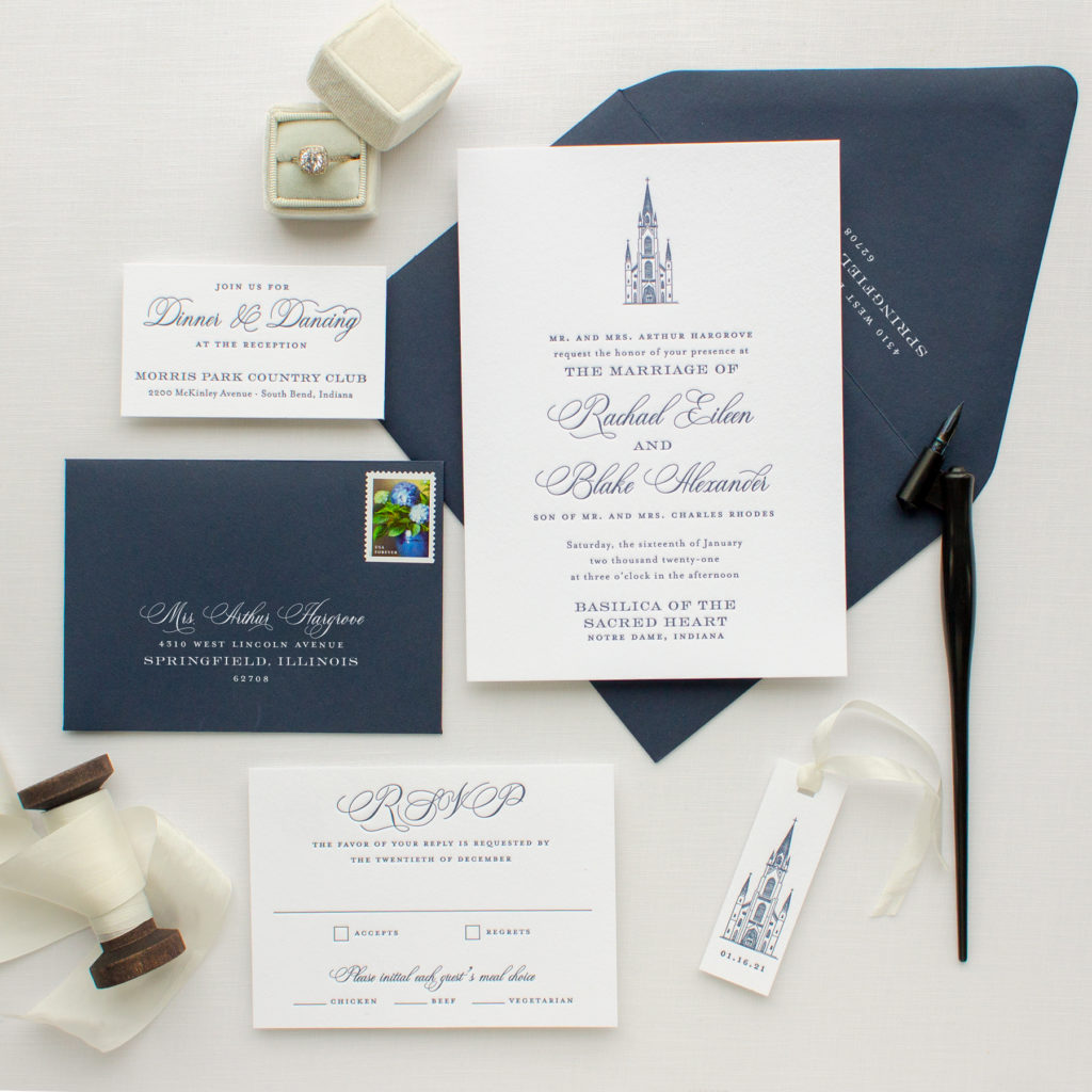 notre dame basilica wedding invitations
