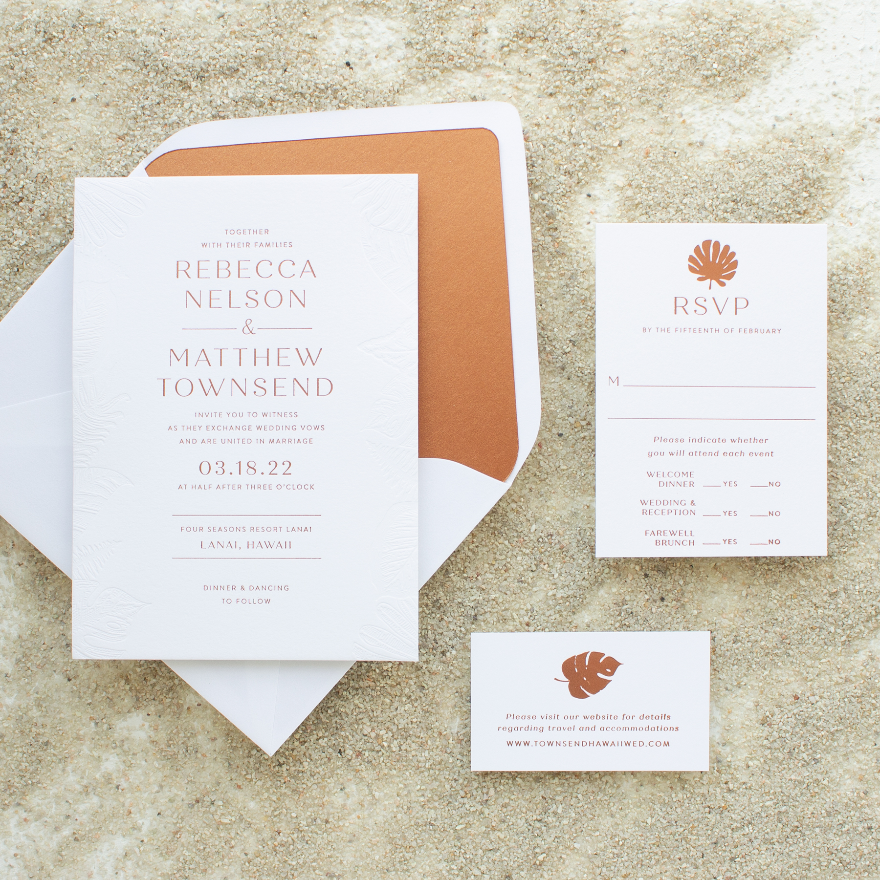 blind deboss beach wedding invitation