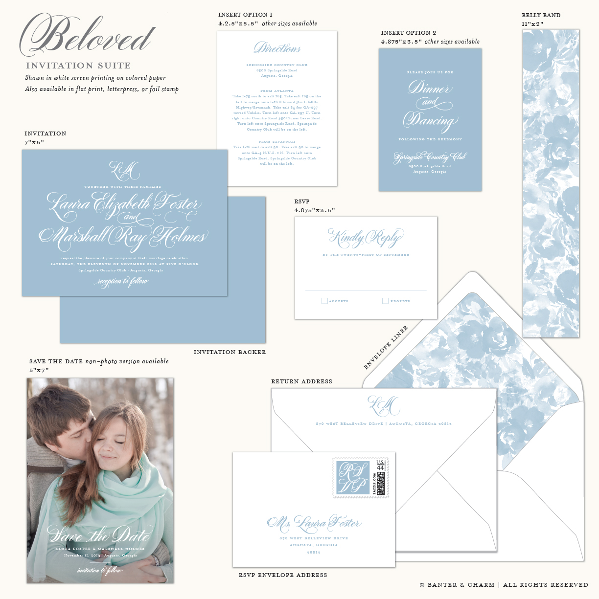 Beloved | Dusty Blue Wedding Invitations - Banter and Charm