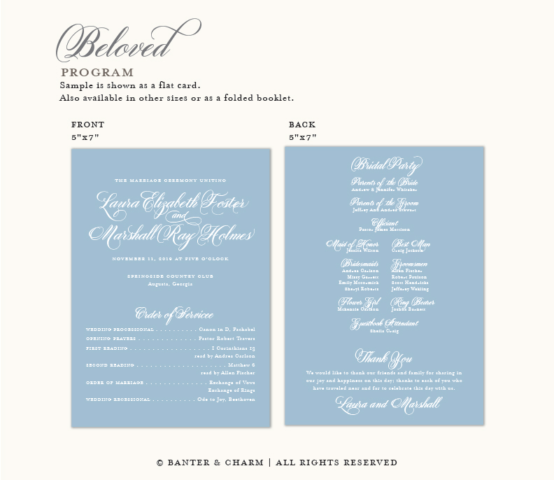 Beloved   Dusty Blue Wedding Invitations - Banter and Charm