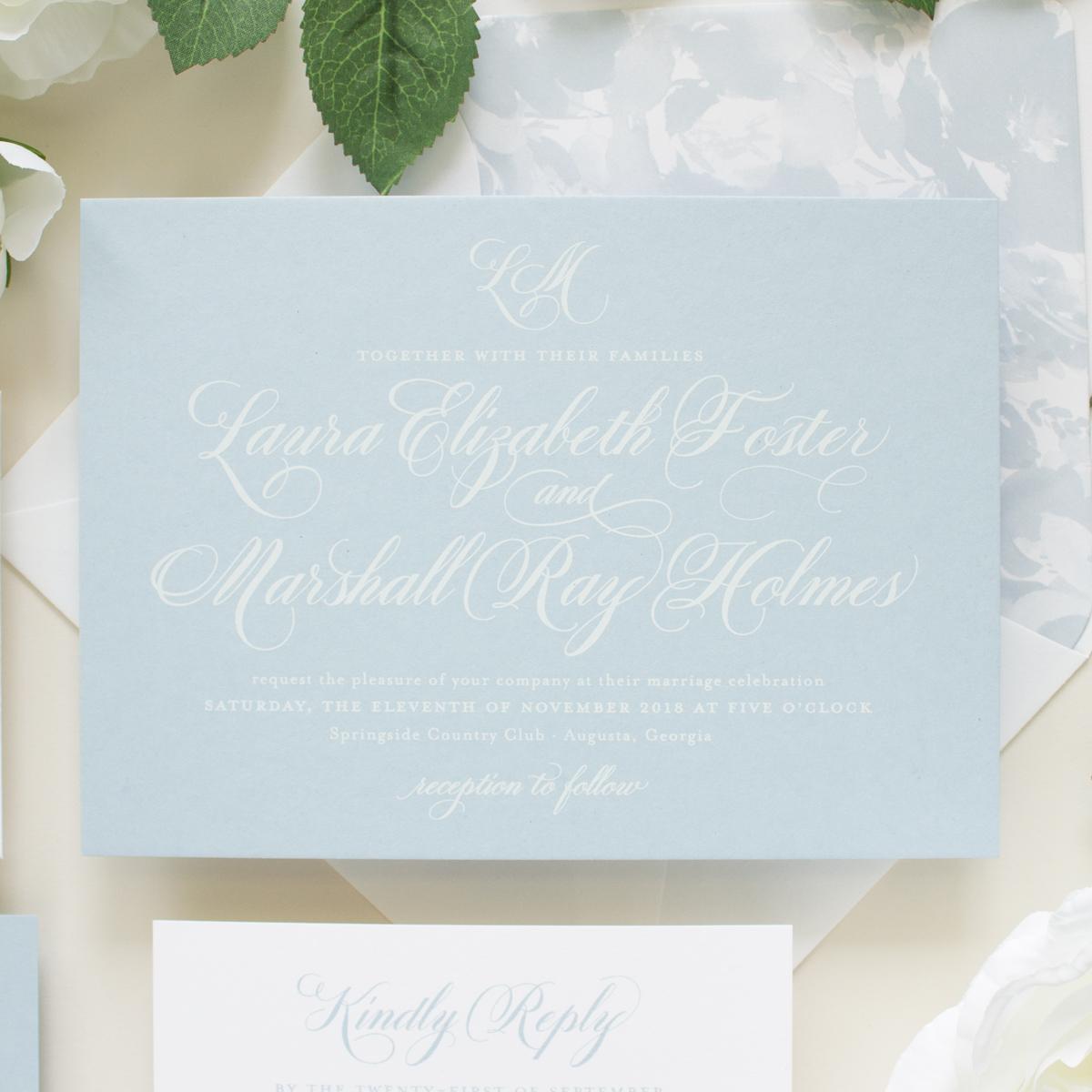 dusty blue wedding invitations