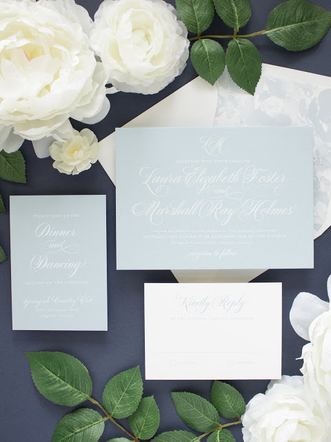 blue wedding invitations with calligraphy script