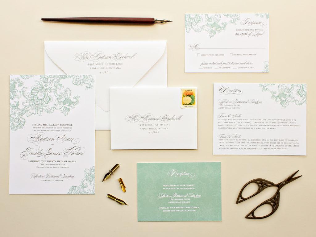 flat print wedding invitation