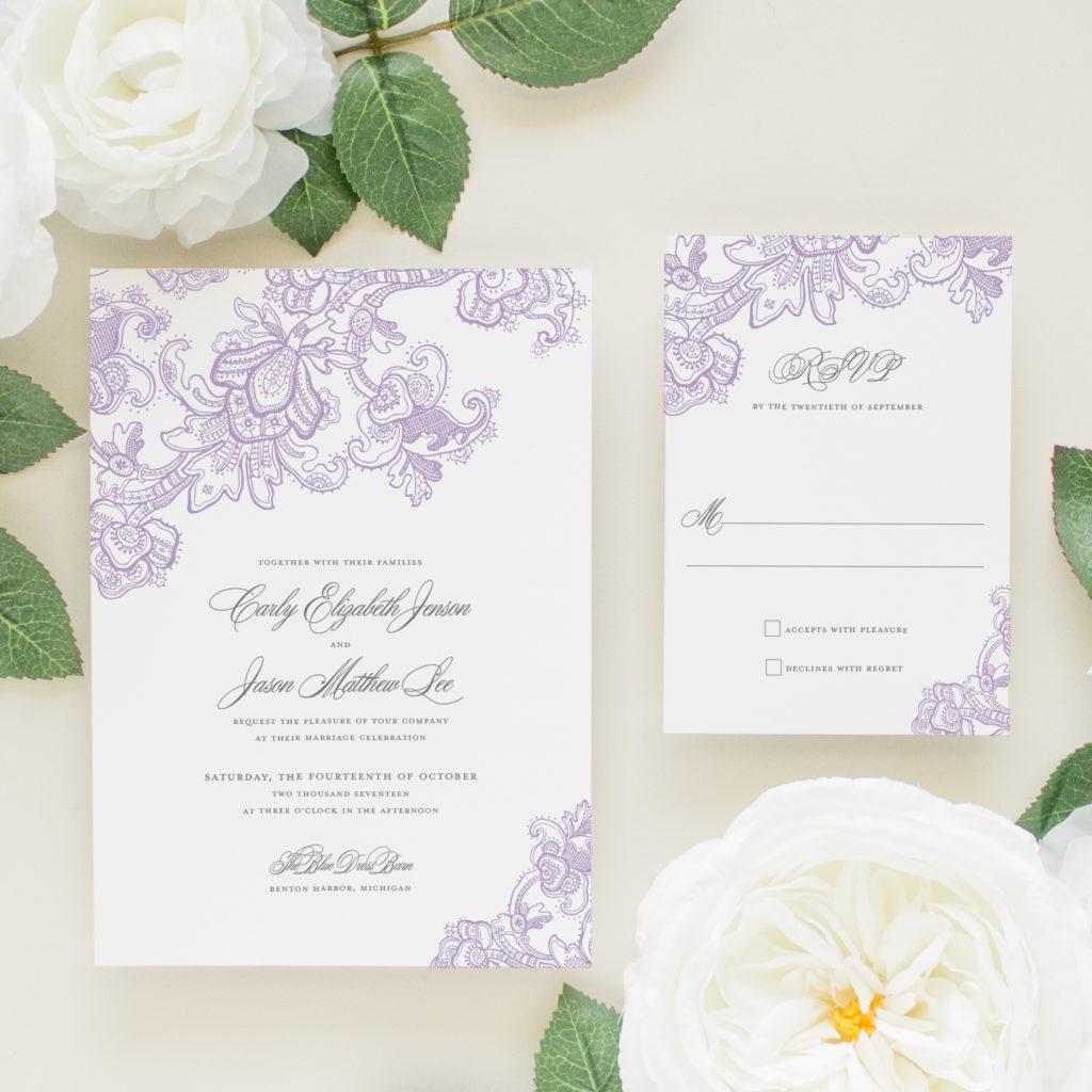 purple lace wedding invitation