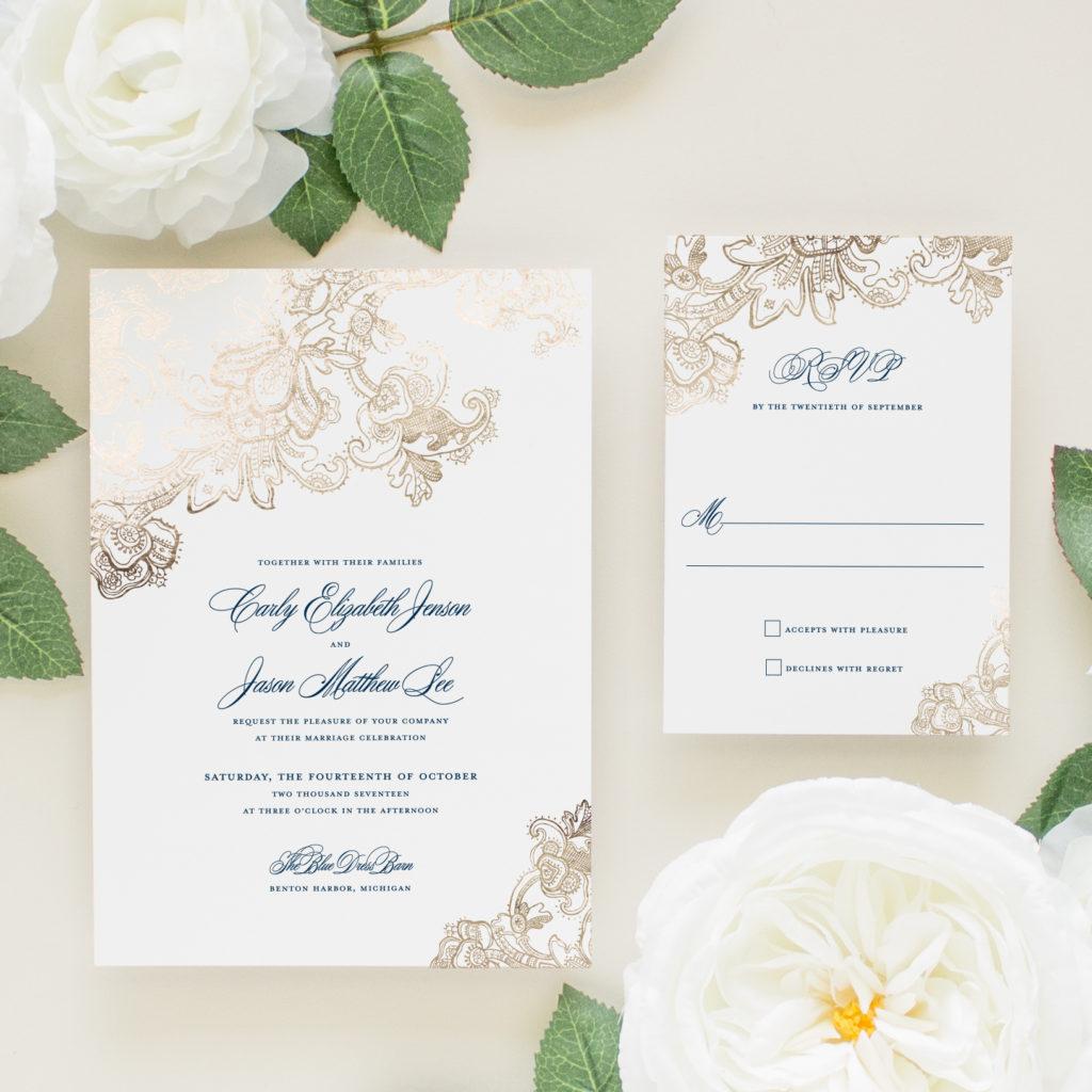 gold foil and navy letterpress wedding invitations