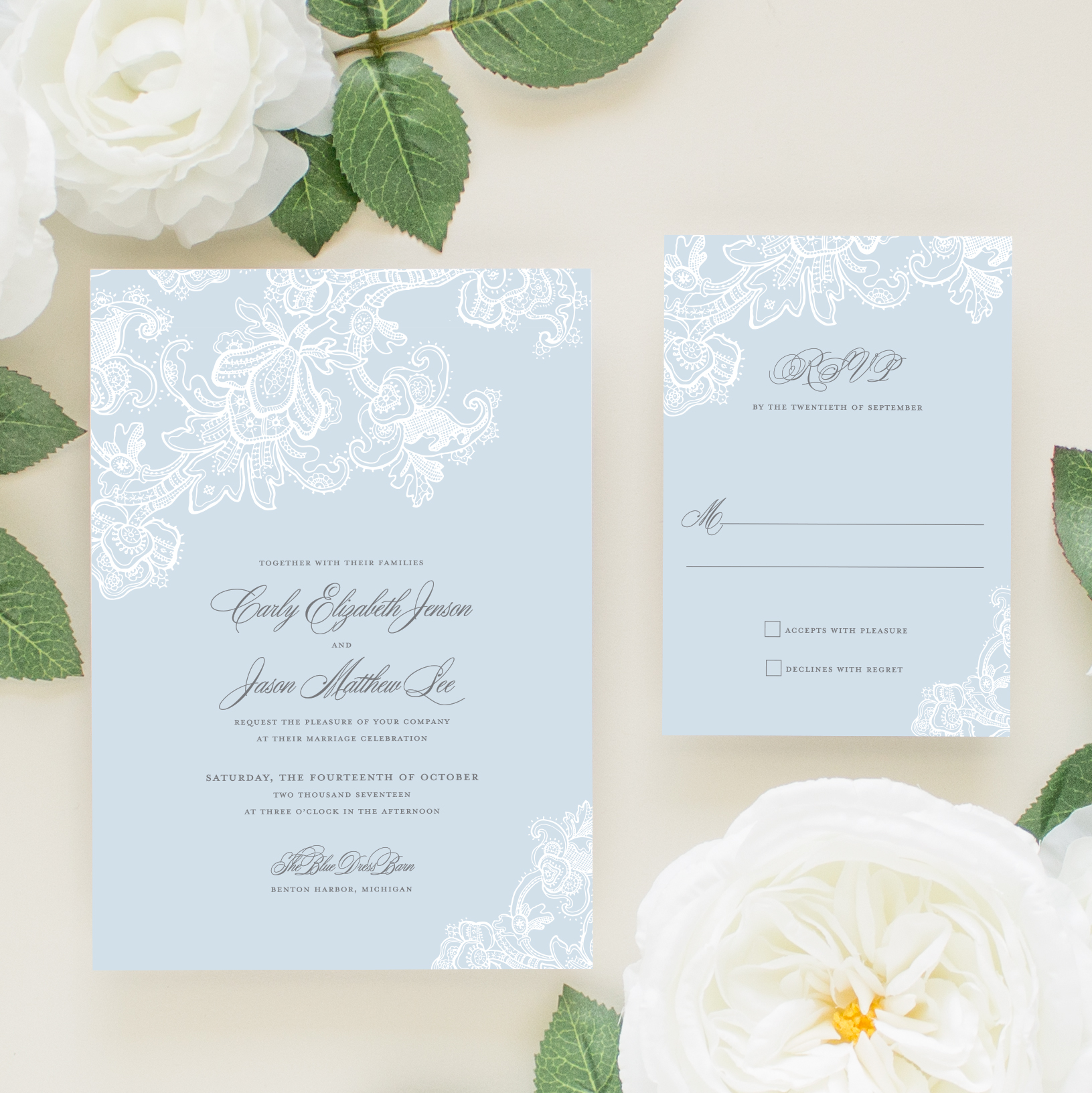 Wedding Invitations With Blue Lace