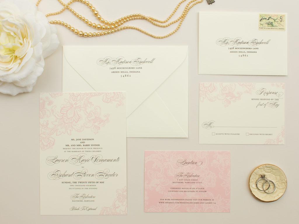 romantic pink wedding invitations