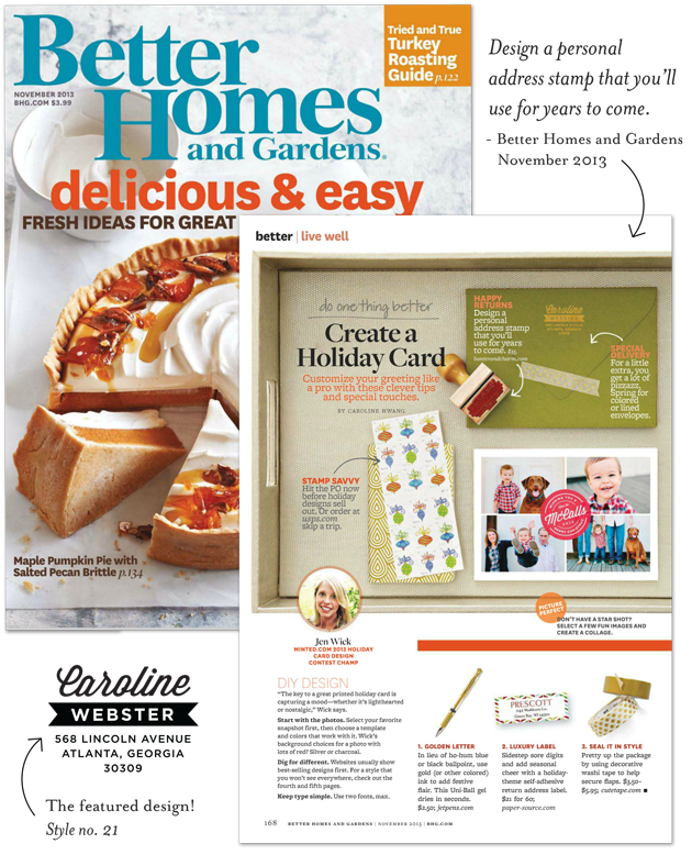 Return Address Stamp Featured In Better Homes And Gardens