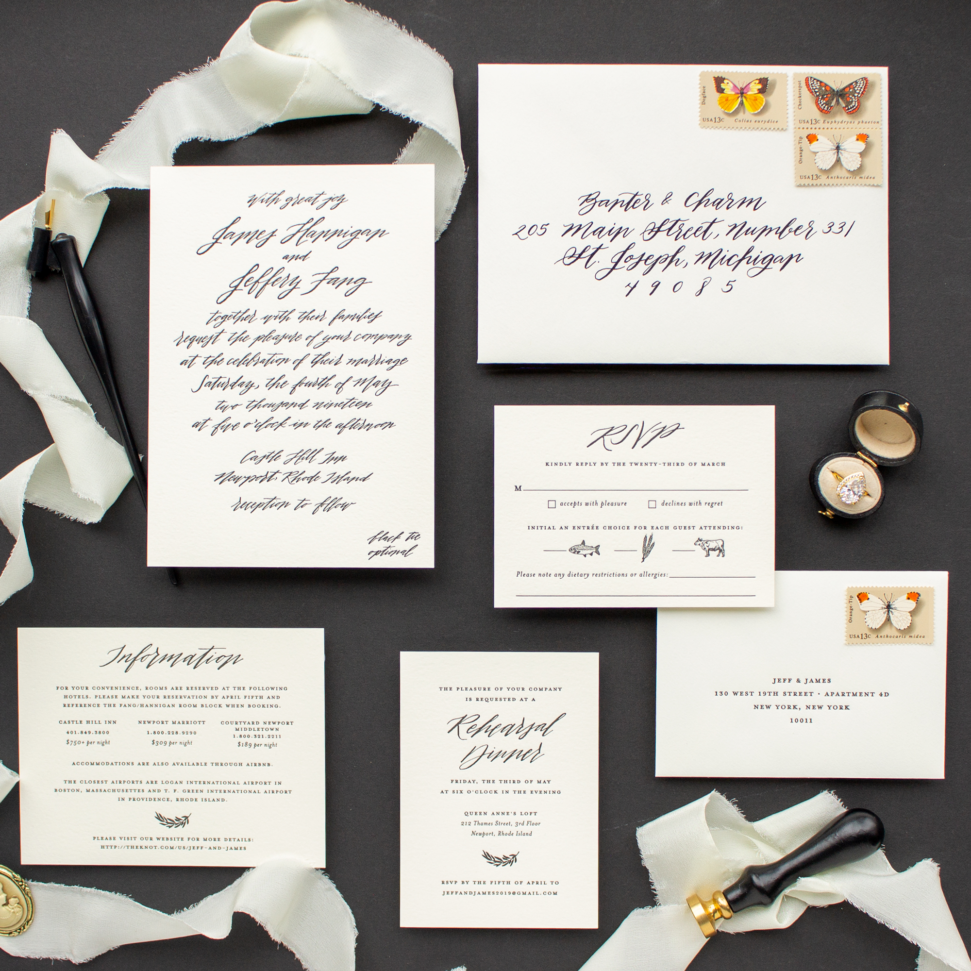 black and ecru calligraphy wedding invitation suite