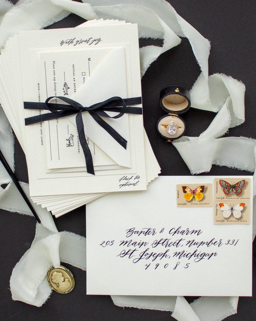 assembled wedding invitation suite