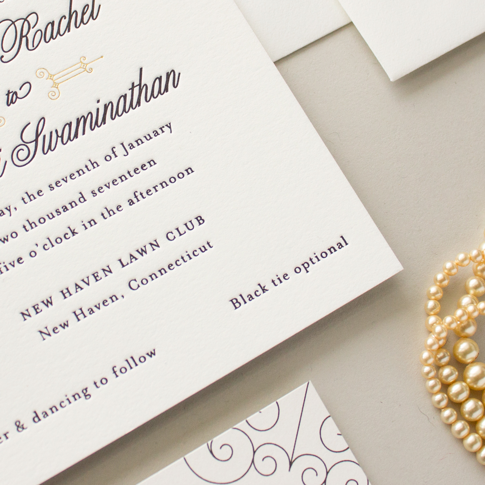 black tie optional wedding invitation