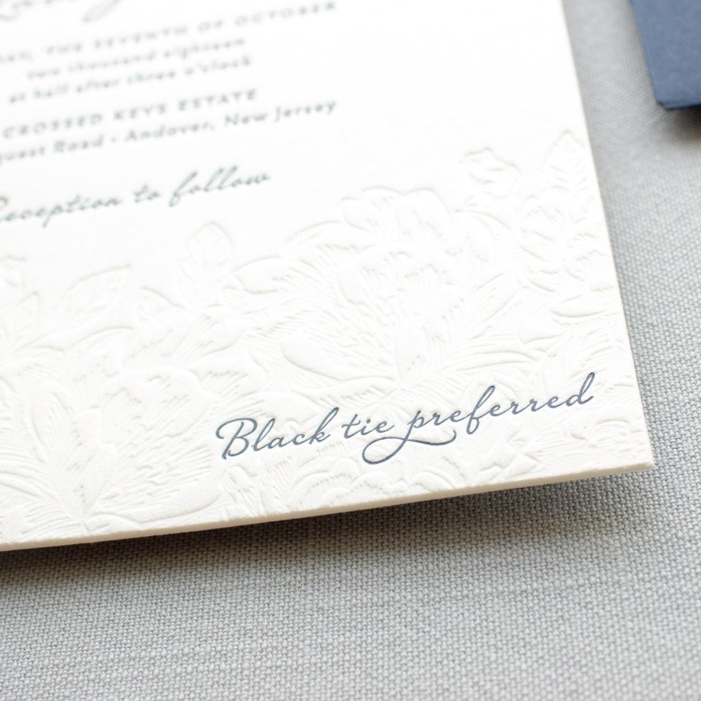 black tie preferred wedding invitation