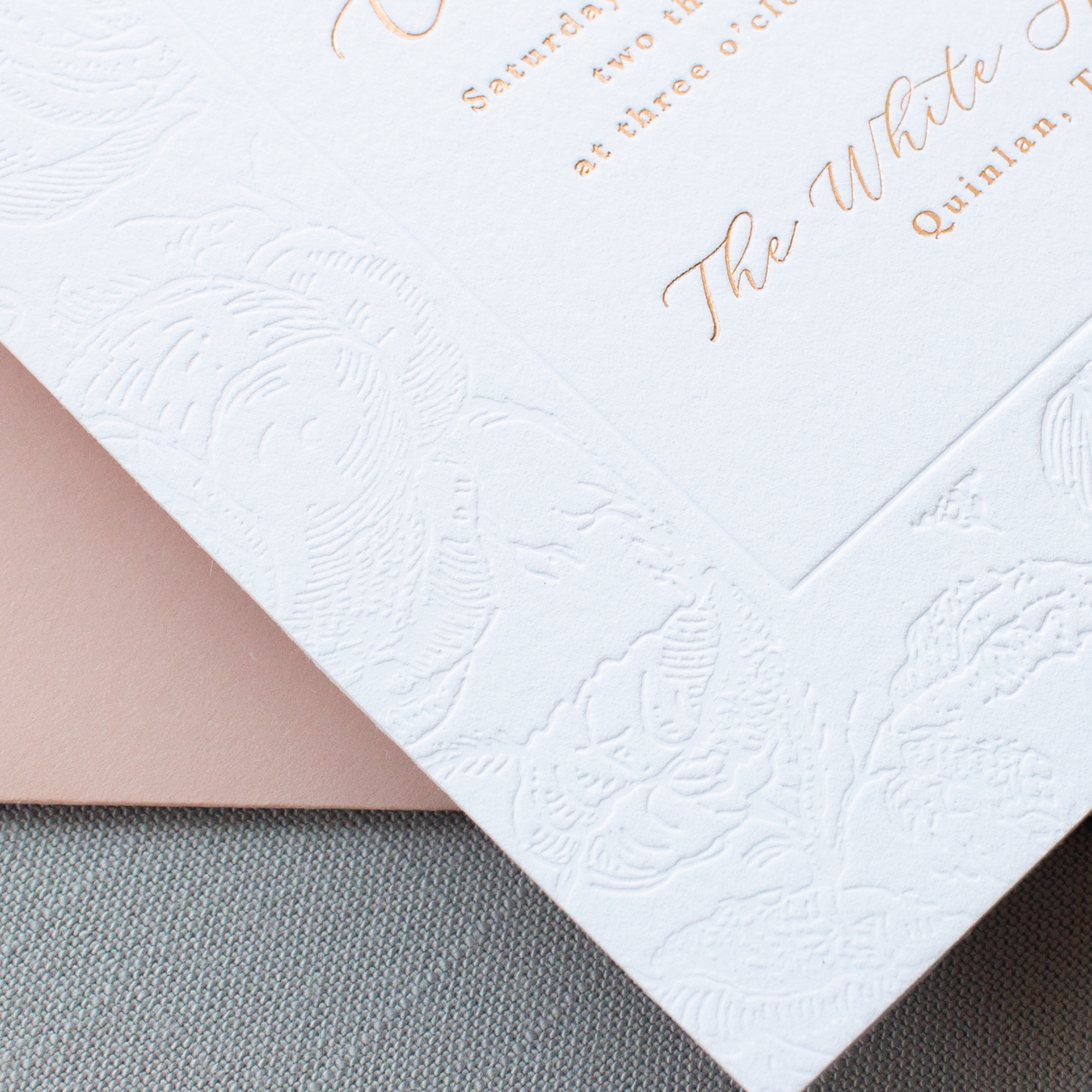 blind deboss roses with rose gold foil