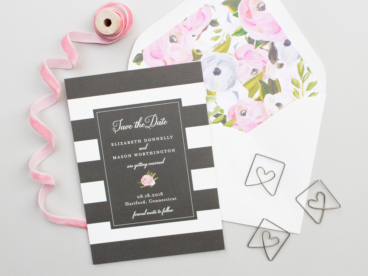 Black and White Stripe Save the Date