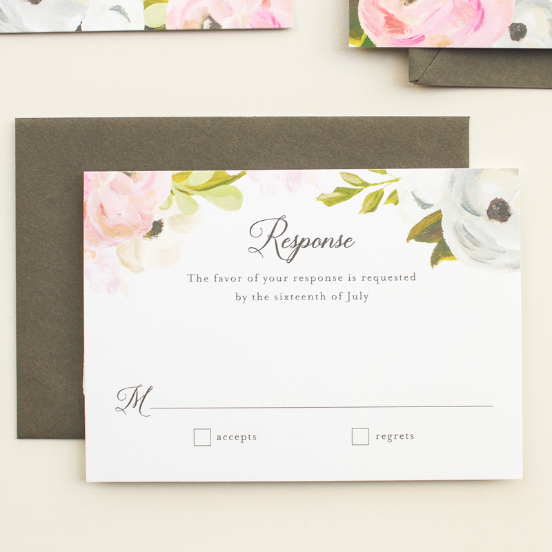 floral response card for invitation suite