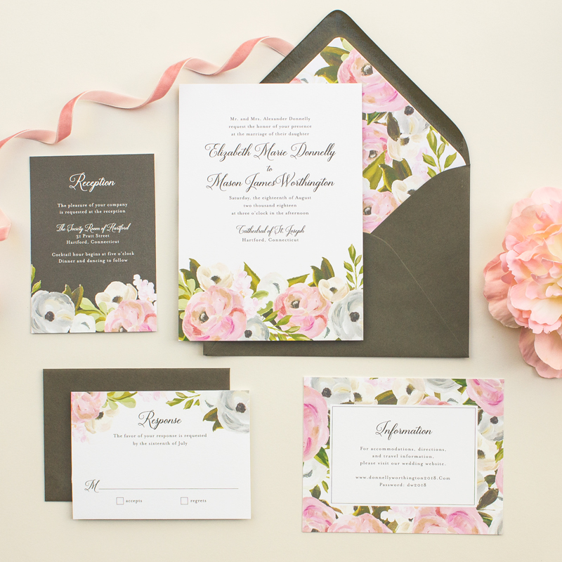 hand painted flowers invitation suite