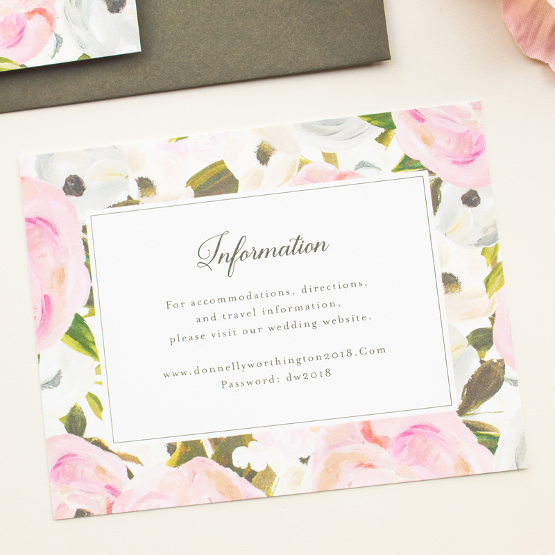 wedding information insert