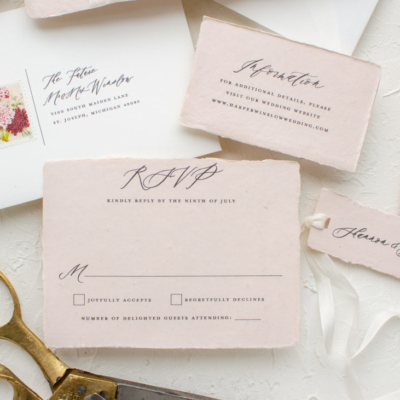 Wedding RSVP in handmade paper
