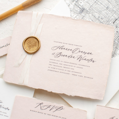Custom invitation on handmade paper