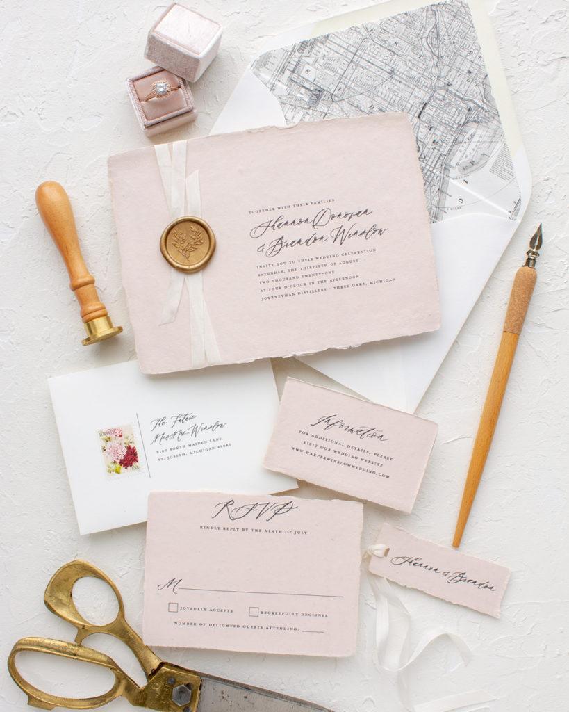 wax seal on wedding invitation