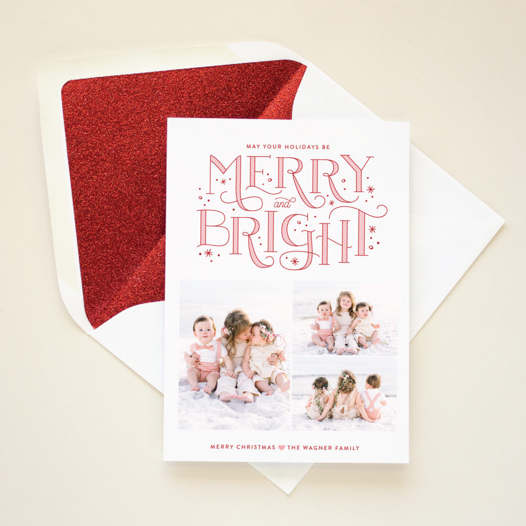 merry bright hand lettered christmas card