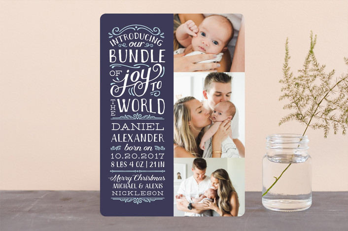 bundle of joy christmas birth announcement