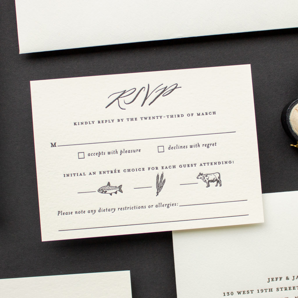 calligraphy rsvp with meal choice icons