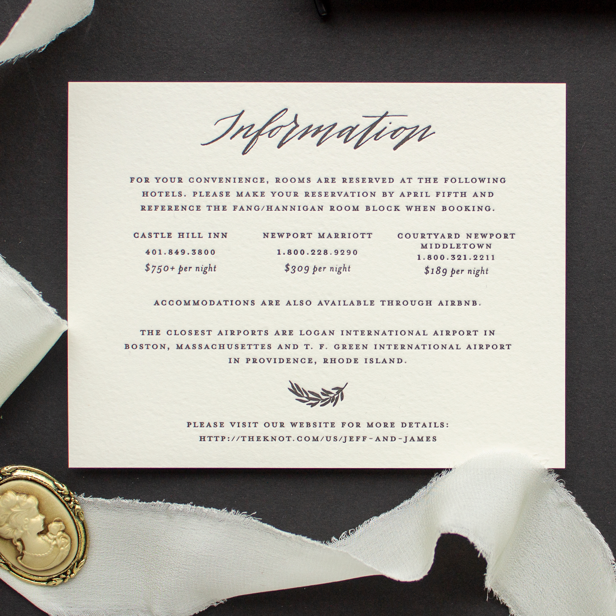 calligraphy information insert card