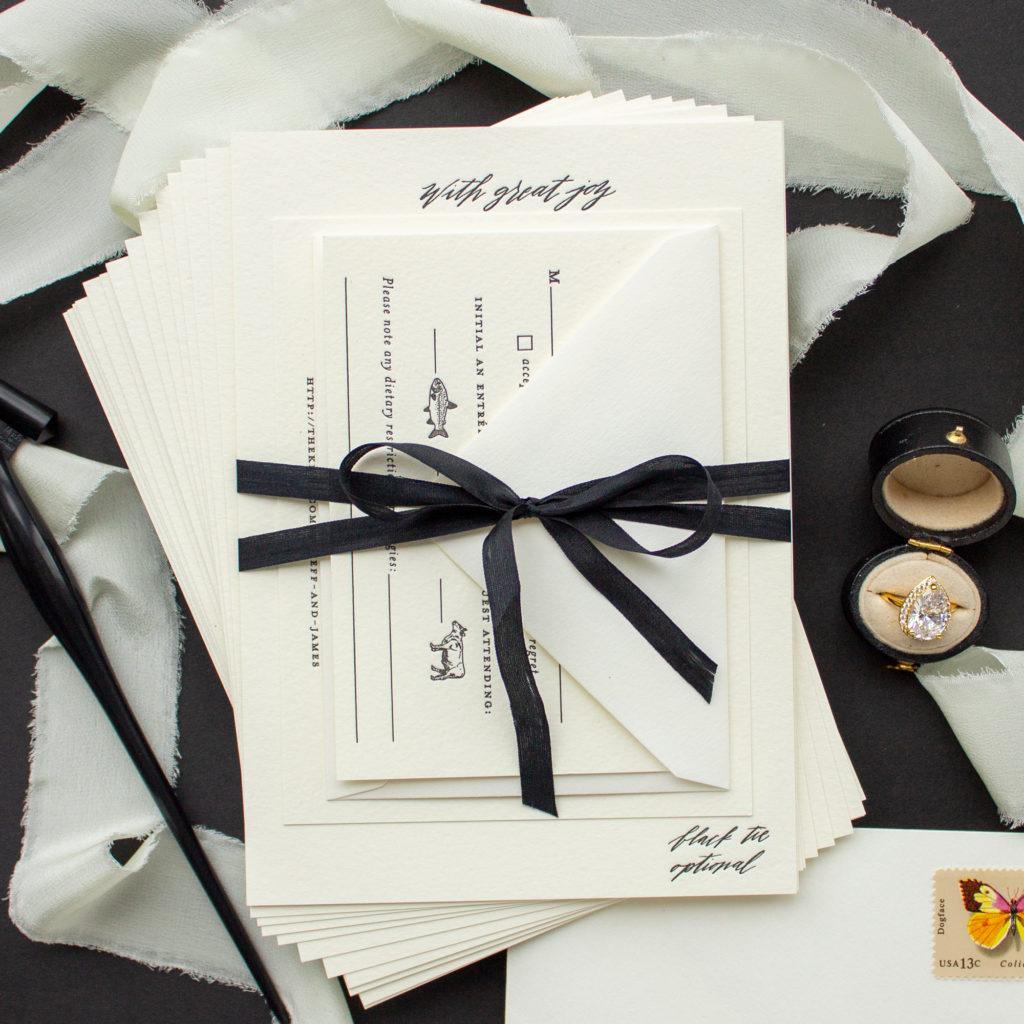 black silk ribbon wedding invitations