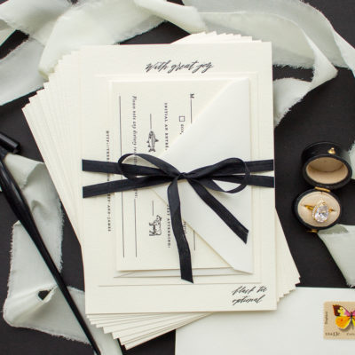 black silk ribbon wedding invitations