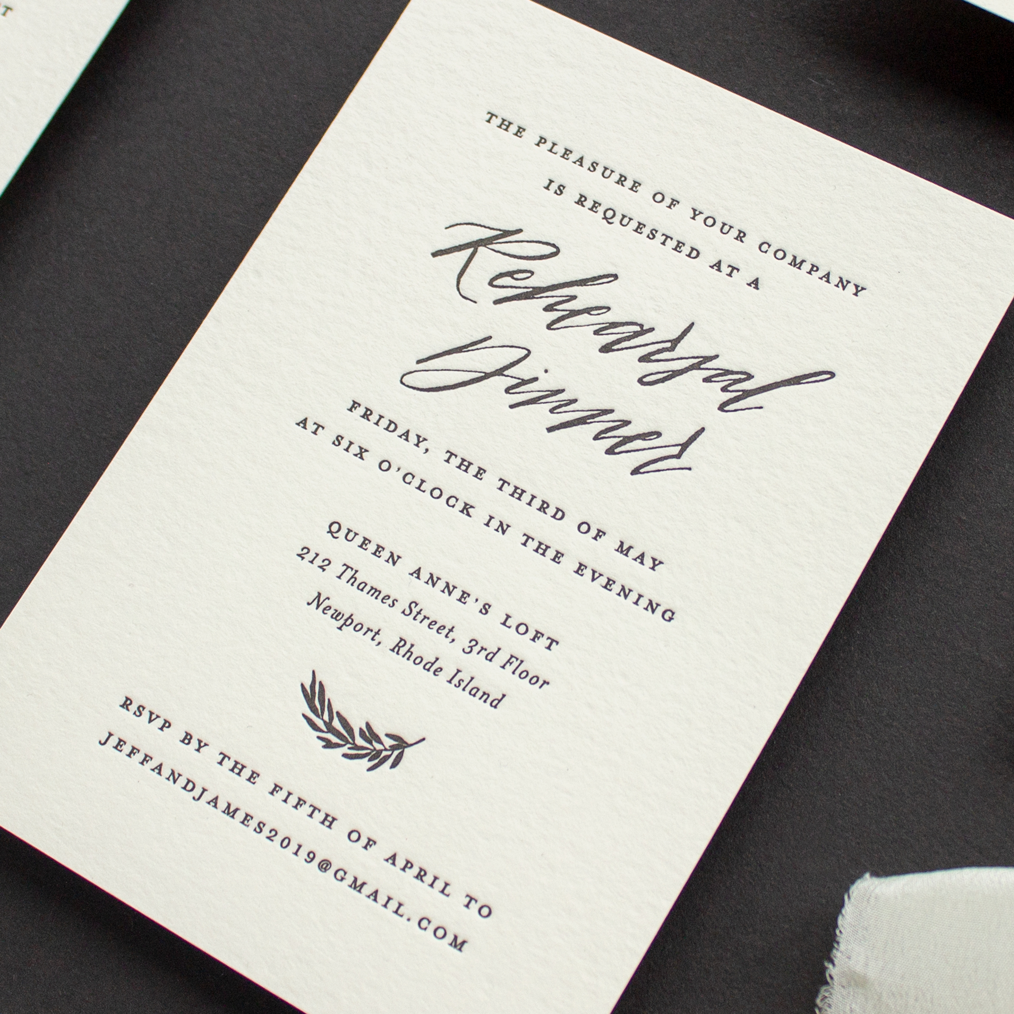 calligraphy rehearsal dinner invitation