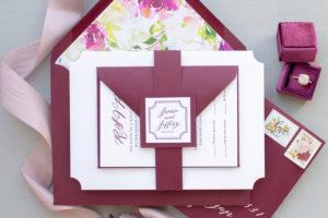 Classic Calligraphy Wedding Invitation with Monogram   Estate